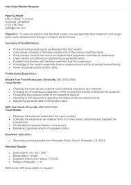 Fast Food Resume Inspiration Fast Food Resume Mkma