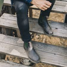 Chelsea boots with elastic gores in the sides and a loop front and back. Stout Brown Premium Leather Chelsea Boots Men S Style 519 Blundstone Usa