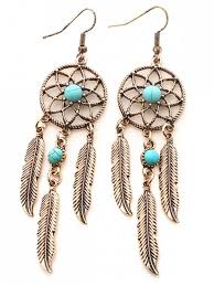 Dream Catcher Earing Faux Turquoise Feather Dream Catcher Earrings GOLDEN Earrings ZAFUL 30