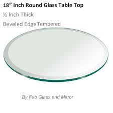 glass table top 18 inch round 1 2 inch thick beveled edge tempered 799456351070