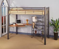 metal twin size loft bed with corner floating desk and freestanding bookshelves cozy designs of