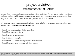 How To Write A Recommendation Letter For Employee Project Architect Recommendation Letter