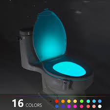 8 or 16 Colors Human <b>Motion Sensor Toilet Light</b> Bathroom Night ...