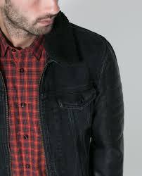 zara man denim jacket with faux leather sleeves cairoamani com