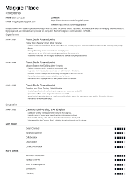resume for front desk receptionist resume examples skills job description tips