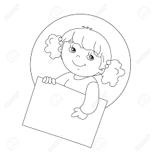 Coloring Page Outline Of Cute Girl Holding A Sign Royalty Free