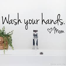 Bathroom Wall Stickers Wash Your Hands Love Mom Waterproof Art ...