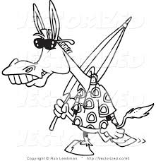 Small Picture Vector of a Black and White Coloring Page of a Summer Donkey