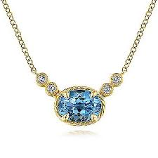 swiss blue topaz diamond necklace in 14k yellow gold