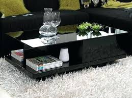 cliff storage black glass coffee table with gloss base high square