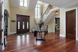 Upscale home with large entry foyer. Half-landing stairs are to the left  when