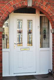 white front door with glass. Stunning White Altmore Composite Door And Windows With UPVC Side Panels Rectangular Lead Bespoke Front Glass .