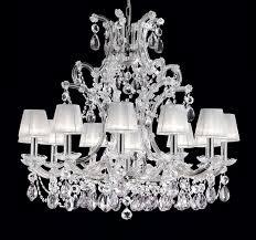 large swarovski crystal chandelier including white organza shades