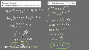 how to solve log equations for x vce maths methods exam solutions
