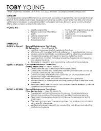 maintenance tech resume