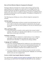 Effective Objective Statements For Resume Free Resume Example