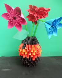 Flower Vase With Paper Easy 3d Origami Flower Vase Flowers Healthy