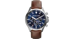 michael kors mk8362 gage stainless steel and leather watch in blue lyst