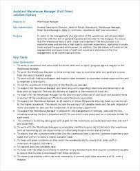 Assistant Warehouse Manager Job Description Sample Warehouse Manager Job Description 10 Examples In Pdf Word