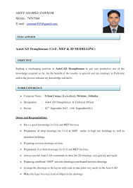 Contemporary Cv Autocad Draftsman Composition Documentation