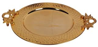 """Decorative Serving Trays With Handles in Bulk Wholesale Decorative Tray 100100"""" Round Metal Golden Color 95"""