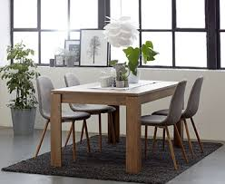 oak dining table and fabric chairs