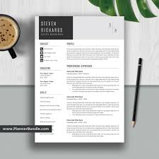 Editable Resume Template 2019 Curriculum Vitae Cv Layout Best Professional Resume Word Resume Design Cover Letter Instant Download Steven
