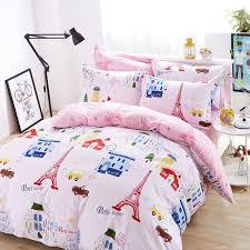 london paris eiffel tower pink bedding vintage bedding set full twin queen king size cotton kids