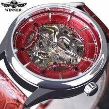 high quality mens transparent watches buy cheap mens transparent winner red racing fashion stylish red skeleton sport design classic transparent men watches top brand luxury