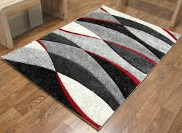 sweetlooking grey and red rug tempo wave black