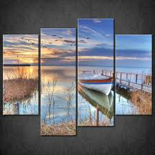 lake boat blue split canvas wall art pictures prints larger sizes intended for most recent boat on boat canvas wall art with 20 best boat wall art