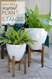 west elm inspired diy wooden plant stands