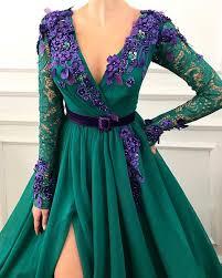 <b>2019 Sexy dark green</b> evening dresses long sleeve lace robe de