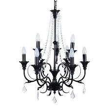 portfolio linkhorn iron stone 9 light chandelier black classic chandeliers lighting fans artin crystal
