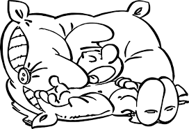 Sleepy Smurf On Pillow Coloring Page Wecoloringpagecom