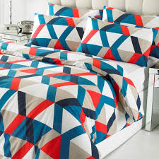 linens limited loft geometric print duvet cover set blue red single