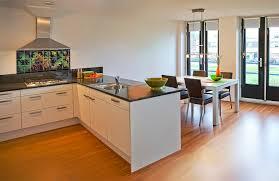 minimalist kitchen backsplash idea with tropical decorative tiles