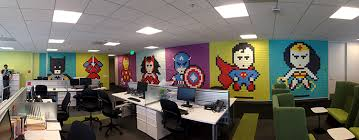 decorate the office. san francisco designers decorate their office walls with pixelated superhero murals made from 8024 postit notes the