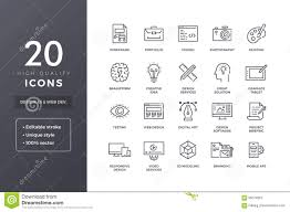 Graphic Design Software Icons Design Line Icons Stock Vector Illustration Of Concept