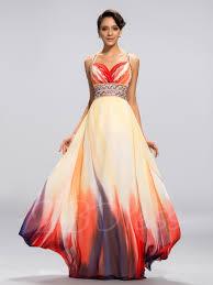 A Line Straps Printing Backless Floor Length Evening Dress