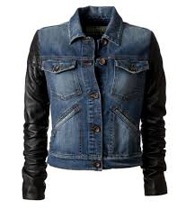 denim jacket with leather sleeves picture