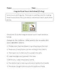 Nouns Worksheets | Irregular Nouns Worksheets