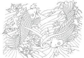 Japan Coloring Page Adult Huge Fishes Pages X Pixels Japanese