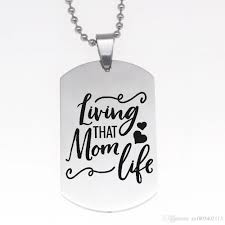 whole whole living that mom life engraved charm pendant necklace dog tag stainless steel necklace mom jewelry gift gold heart pendant necklace owl