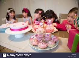 Fairy Cakes At Girls Birthday Party Stock Photo 282701937 Alamy