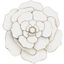 24in white gold metal flower wall