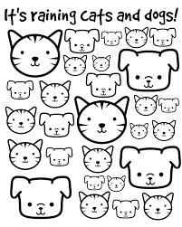 Its Raining Cats And Dogs Printable Coloring Page So Cal Lady