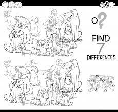 Gioco Di Differenze Con Il Libro Da Colorare Del Gruppo Dei Cani