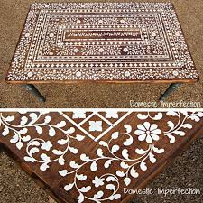 cutting edge furniture. stenciled indian inlay table top from domestic imperfections stencil cutting edge stencils furniture o