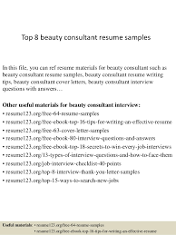 Top 8 beauty consultant resume samples In this file, you can ref resume  materials for ...
